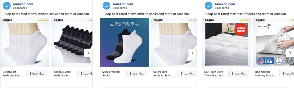Amazon carousel facebook ads example