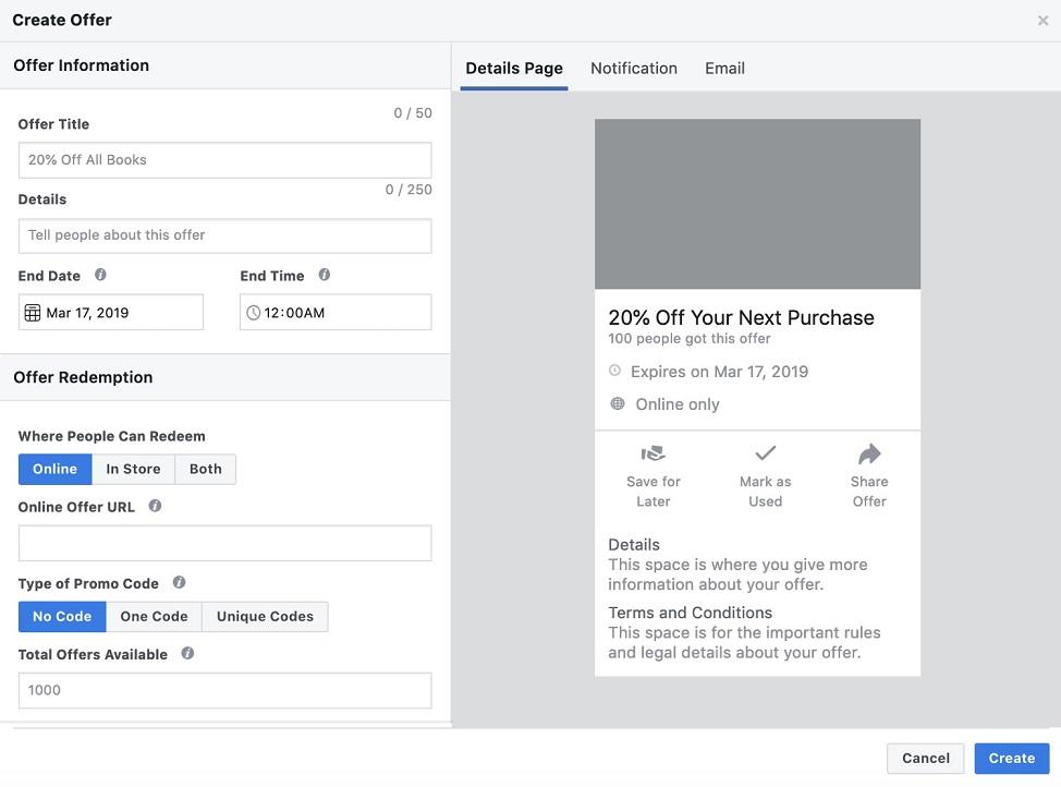 Facebook offers ad creation