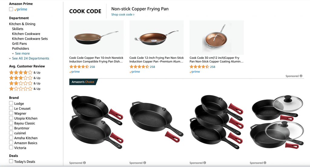cast iron skillet amazon search result