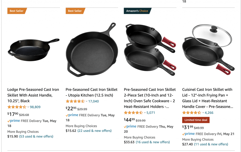 cast iron skillet amazon search result 2