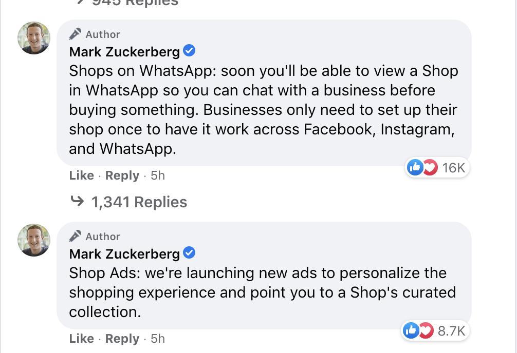 mark zuckerberg facbook announcement ecommerce 2