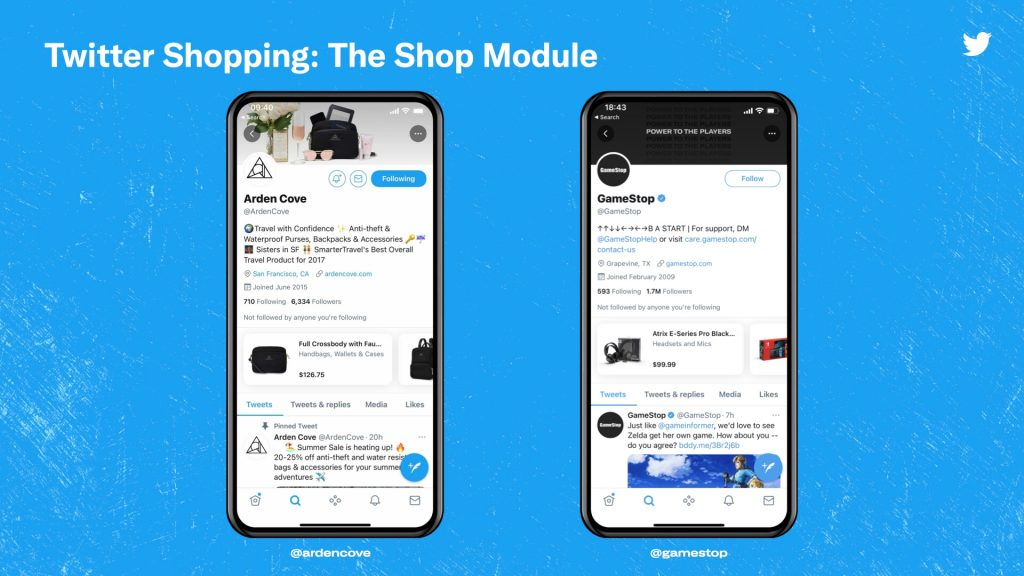 twitter shopping module